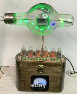 Horloge Nixie In-14 Steampunk. Tube Ux-552 Précoce. Modèle D'anneau Et Ammeter De Cru