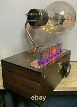 Horloge Nixie In-14 Steampunk. Tube Ux-852 Précoce. Modèle D'anneau Et Ammeter Lit De Rgb