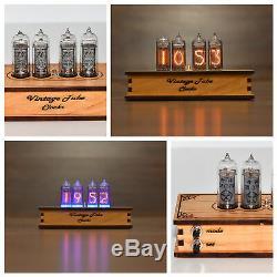 Horloge Tube Nixie 4x In-14 Horloge Nixie Table De Bureau Rétro Horloge Vintage En Bois
