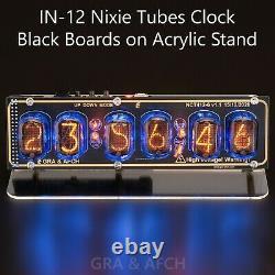 In-12 Nixie Tube Horloge Sur Support Acrylique Avec Chaussettes 12/24h Black Gold Boards