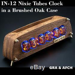 In-12 Tubes Nixie Horloge En Chêne Brossé Vintage En Bois Cas Gra & Afch