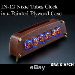 In-12 Tubes Nixie Horloge En Contreplaqué Peint Cas Gra & Afch