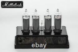 In-14 Nixie Tube Clock Assembled Wood Enclosure Et Adapter 4 Tubes Par Millclock