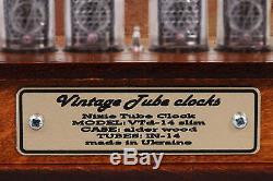 In-14 Nixie Tube Clock Retro Assemblé Testée En Bois Avec Adaptateur Case 110 / 240v