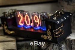 In-18 Nixie Horloge Avec 4 Tubes Main En Cuir Steampunk (type Z568m Z566m) # 35