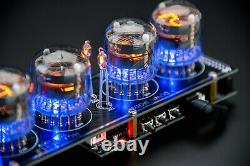 In-4 Nixie Tubes Clock Black Board Avec Sockets Temp. F/c 12/24h Slot Machine