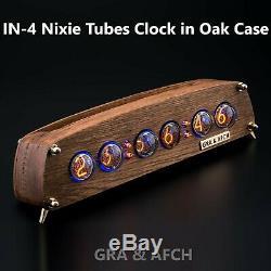 In-4 Tubes Nixie Horloge En Chêne Vintage En Bois Cas Gra & Afch