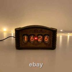 Kit Horloge Nixie In-12 (avec Tubes) Et Enceinte En Bois