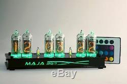 Maja Rvb Nixie Horloge In-14 Russe Tube Horloge Noire Avec Télécommande Led