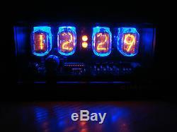 Nixie Clock 4 In-12 Tubes Étui Noir Mat & Alarme & Led Bleue Steampunk Rétro