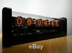 Nixie Clock 6 À 12 Tubes-noir Brillant De Cas & Alarme & Led Jaune Steampunk