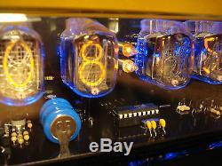 Nixie Clock 6 In-12 Tubes Étui Brillant Noir Et Alarme & Led Bleue Steampunk Rétro