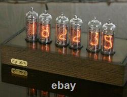 Nixie Clock 6xin-14 Tubes Boîtier En Bois Et Laiton Blue Backlight Horloge De Table Vintage