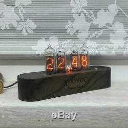 Nixie Clock In-14 Horloge Rétro Avec En 14 Lampe Tubulaire Nixie Horloge En Bois