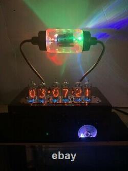 Nixie Clock In-14 Tube. Steampunk. Bouchon À Vide Rgb Lit 17.5kv. Verre D'uranium Allumé