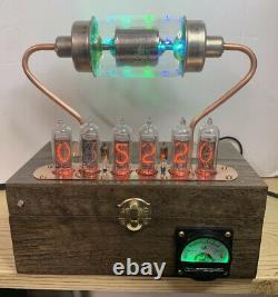 Nixie Clock In-14 Tube. Steampunk. Rgb Lit 20 Kv Vacuum Cap. Verre D'uranium Allumé