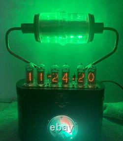 Nixie Clock In-14 Tube. Steampunk. Rgb Lit 30kv & Vintage Ammeter 10 Rgb Allumé