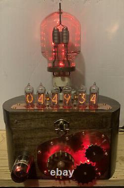Nixie Clock In-14 Tube. Steampunk. Vintage Sylvania Vt-129 Tube, Gears, Décatron