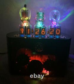 Nixie Clock In-14 Tube. Steampunk. Working Lighted Gear Train Et Tubes Vintage