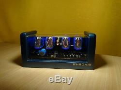 Nixie Horloge 4xin-12 Tubes Boîtier Métallique Bleu Et Alarme Vintage Rétro Steampunk