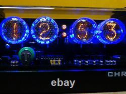 Nixie Horloge Avec 4 Tubes Lc-513 Bleu Led & Noir Mat Cas & Alarme & Télécommande