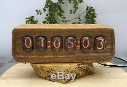 Nixie Horloge In-12 6 Tube Plein Bois Naturel # 000188