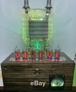 Nixie Horloge In-14 Steampunk. Cuivre, Laiton Et Verre! Rvb Lit 833a Tube & Ampèremètre