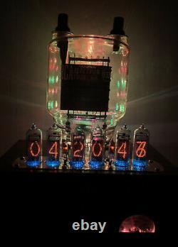 Nixie Horloge In-14 Steampunk. Cuivre, Laiton Et Verre ! Tube Rgb Lit 833a - Ammeter