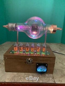 Nixie Horloge In-14 Steampunk. Rvb Lit Rca Tube Jan-crc-860. Modèle Anneau Militaire