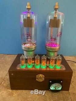 Nixie Horloge In-14 Tube. Steampunk. Lit Ampèremètre & Towers Rgb Changer De Couleur
