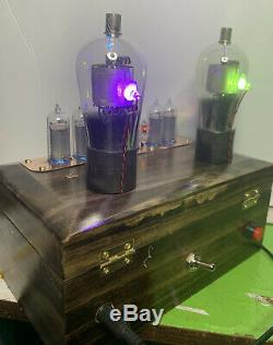 Nixie Horloge In-14 Tube. Steampunk. Vintage Lighted X224 Tubes Et Ampèremètre. Anneaux