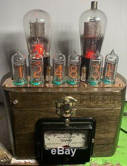 Nixie Horloge In-14 Tube. Steampunk. Vintage Tubes & Lighted Vintage Ampèremètre