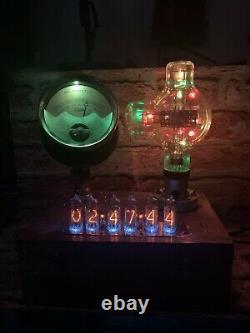 Nixie Horloge In-14 Tubes. Cuivre Steampunk, Laiton Et Verre! Vintage Victor Ammeter