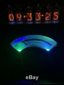 Nixie Horloge In-14 Tubes. Steampunk. 100+ Year Old Lit Ammeter. Livraison Gratuite