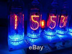 Nixie Tube Assemblé Grand Bureau Horloge Et Calendrier Vintage In-14 X 6 Bleu Russe