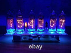 Nixie Tube Assemblé Grand Bureau Horloge Et Calendrier Vintage In-14 X 6 Russe