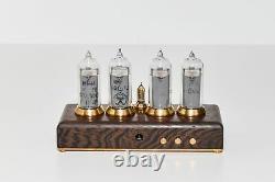 Nixie Tube Clock 4x In-14 Nixie Tubes, Oak Case, Brass Rings