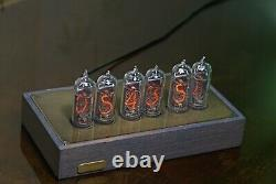 Nixie Tube Clock In-14 Horloge De Bureau Vintage En Bois Et En Laiton