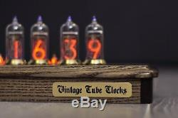 Nixie Tube Horloge 6x In-14 Schreibtisch Vintage Rétro Nixie Tischuhr Aus Holz El