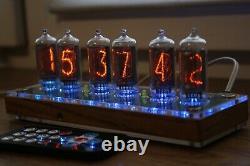 Nixie Tube Horloge Avec In-8-2 Tubes (fin 5) Bureau En Bois À Distance De Température Automatique
