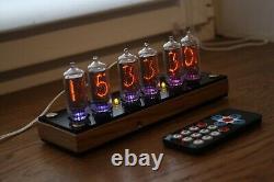 Nixie Tube Horloge Avec In-8-2 (fin 5) Bureau En Bois Noir À Distance Température Automatique