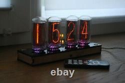 Nixie Tube Horloge Comprennent 4x In-18 Tubes Et Contreplaqué Noir Cas Rétro Vintage