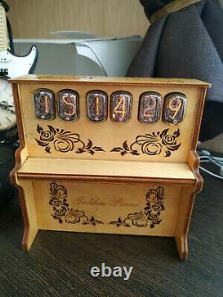 Nixie Tube Horloge In-12b Sur Mesure 'golden Piano' Alarme De Street Organ Nouveau