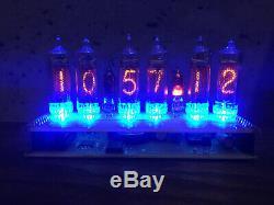 Nixie Tubes Assemblés Horloge De Bureau Et Calendrier Vintage In-16 X 6 Bleu Russe