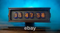 Nixie Tubes Horloge 6in-12 De Noyer Massif Sur Support En Aluminium Avec Éclairage