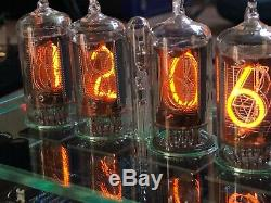 Qas + Nixie Tube Clock British Zm1177 Tubes + Verre Tnt Plexi Case + Psu. (1of1)