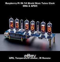 Raspberry Pi In-14 Bouclier Nixie Tubes Horloge (gps, Capteur De Température, À Distance)