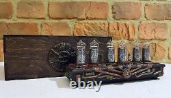 Skullshady Nixie Tubes Steampunk Clock Vintage Rétro Hand Made 3d Gift Art Déco