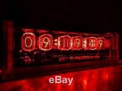 Style Rétro Unique 6 X In-12 Tubes Nixie Horloge Acrylique Cas Et Rouge Rétro-éclairage Conduit