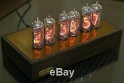 Tube Nixie Clock In-14 En Bois Et Laiton Cas Montre Rétroéclairage Bleu Vintage